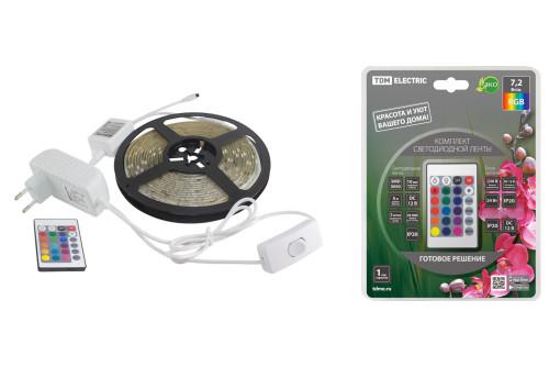 Комплект светодиодной лентыSMD5050-30LED/м-12 В-7,2 Вт/м-IP65-RGB (5м), 24 Вт, IR-контроллерTDM