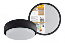 Светодиодный светильник LED ДПП 2902 12Вт 990 лм 4000К IP65 чёрный круг160*48 мм с датчиком Народный