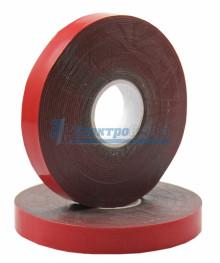 Двухсторонний скотч, красного цвета на серой основе, 12мм, 5метров  REXANT