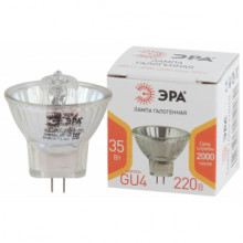 Лампа галогенная GU4-MR11-35W-220V-30 CL  ЭРА (галоген, софит, 35Вт, нейтр, GU4).