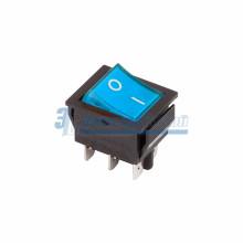 Выключатель клавишный 250V 15А (6с) ON-ON синий  с подсветкой  REXANT