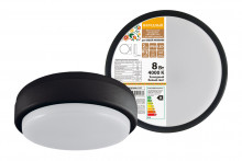 Светодиодный светильник LED ДПП 2902 8Вт 700 лм 4000К IP65 чёрный круг 160*48 мм с датчиком Народный