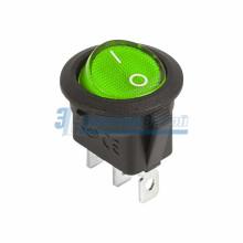 Выключатель клавишный круглый 12V 20А (3с) ON-OFF зеленый  с подсветкой  REXANT