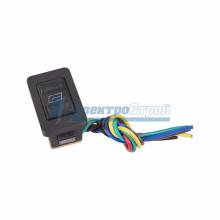 Выключатель (стеклоподъемника) клавишный 12V 20А (6с) (ON)-OFF-(ON)  черный  с подсветкой и проводом