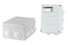 Распаячная коробка ОП 150х110х70мм, крышка, IP44, 10 гермовводов, инд. штрихкод, TDM