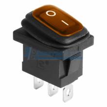 Выключатель клавишный 250V 6А (3с) ON-OFF желтый  с подсветкой  Mini ВЛАГОЗАЩИТА REXANT