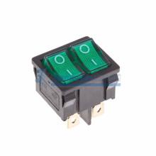Выключатель клавишный 250V 6А (6с) ON-OFF зеленый с подсветкой ДВОЙНОЙ  Mini  REXANT