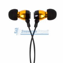 Наушники металлические M-12 с микрофоном черные/золотые REXANT