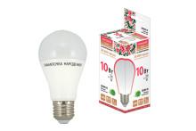 Лампа светодиодная НЛ-LED-A60-10 Вт-230 В-3000 К-Е27, (60х112 мм), Народная