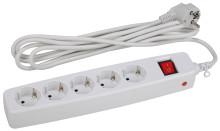 Сетевой фильтр SF-5es-2m-W  ЭРА Сет.фильтр надеж. защита, с/з, с выкл, 5гн, 2м, ПВС, 10А, шторки, бе