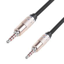 Аудиокабель 3,5 мм штекер-штекер 1М soft touch, черный  (4pin)