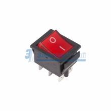 Выключатель клавишный 250V 15А (6с) ON-ON красный  с подсветкой  REXANT