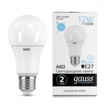 Лампа Gauss LED Elementary A60 12W E27 6500K 1/10/50
