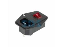 Выключатель клавишный 250 V 6 А (4с) ON-OFF красный с подсветкой, c штекером C14 3PIN и держателем п