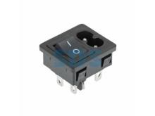 Выключатель клавишный 250 V 6 А (4с) ON-OFF черный с штекером C8 2PIN  REXANT