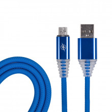 USB кабель micro USB, шнур SOFT TOUCH 1 м синий