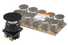 Выключатель кнопочный КЕ 021-У2-исп.2 гриб без фиксации черный 1з+1р 10A 660B IP40 TDM