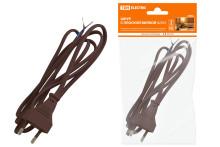 Шнур с плоской вилкой ШУ02 ШВВП 2х0,75мм2 1,7 м. коричневый