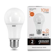 Лампа Gauss LED Elementary A60 10W E27 3000K 1/10/50