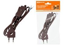 Шнур с выключателем и плоской вилкой с вырезом ШУ03В ШВВП 2х0,75мм2 2 м. коричневый