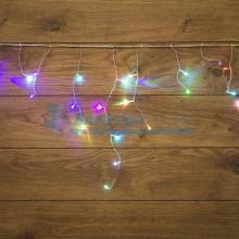 Гирлянда Айсикл (бахрома) светодиодный, 1,8х0,5 м,прозрачный провод ,230 В , диоды МУЛЬТИКОЛОР