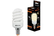 Лампа энергосберегающая КЛЛ-FSТ2-15 Вт-2700 К–Е14 КОМПАКТ (40х98 мм) TDM