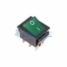 Выключатель клавишный 250V 15А (6с) ON-ON зеленый  с подсветкой  REXANT