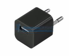 Сетевое зарядное устройство квадрат USB (СЗУ) (1 000mA) черное