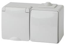 11-7601-03  ЭРА Блок розетка+выкл. гориз. IP65, 16A(10AX)-250В, ОУ, Эра Эксперт, серый