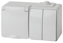11-7602-03  ЭРА Блок розетка+выкл. двойн. гориз. IP65, 16A(10AX)-250В, ОУ, Эра Эксперт, серый