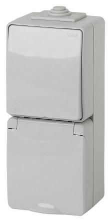11-7607-03  ЭРА Блок розетка+выкл. верт. IP65, 16A(10AX)-250В, ОУ, Эра Эксперт, серый