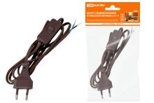 Шнур с выключателем и плоской вилкой ШУ01В ШВВП 2х0,75мм2 2м. коричневый