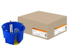 Установочная коробка СП D68х45мм, саморезы, пл. лапки, синяя, IP20, TDM
