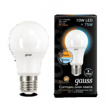 Лампа Gauss LED A60 10W E27 3000K 1/10/50