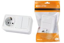 Блок комбинированный выкл. 2-кл. 10А + розетка 2П+З 16А 250В БКВР IP20 белый