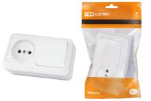 Блок комбинированный выкл. 1-кл. 10А + розетка 2П 10А 250В БКВР IP20 белый