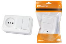 Блок комбинированный выкл. 2-кл. 10А + розетка 2П 10А 250В БКВР IP20 белый