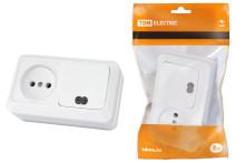 Блок комбинированный выкл. 1-кл. с/п 10А + розетка 2П 10А 250В БКВР IP20 белый