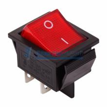 Выключатель клавишный 250V 20А (4с) ON-OFF красный  с подсветкой  REXANT