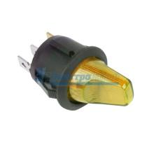 Выключатель клавишный круглый 12V 16А (3с) ON-OFF желтый  с подсветкой  REXANT