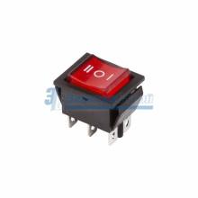 Выключатель клавишный 250V 15А (6с) ON-OFF-ON красный  с подсветкой и нейтралью  REXANT