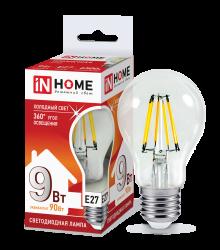 Лампа светодиодная LED-A60-deco 9Вт 230В Е27 6500К 810Лм прозрачная IN HOME