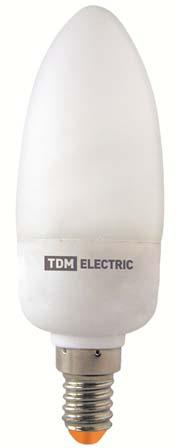 Лампа энергосберегающая КЛЛ-С-9 Вт-2700 К–Е14 TDM (выведено из ассортимента)