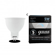 Лампа Gauss LED MR16 GU5.3-dim 5W 4100K  диммируемая 1/10/100