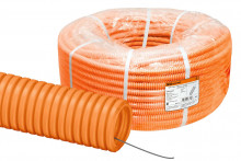 Труба гофр.ПНД d 50 с зондом (20 м) легкая оранжевая TDM