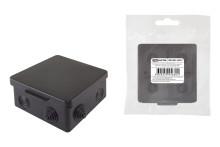 Распаячная коробка ОП 80х80х50мм, крышка, IP54, 7вх., черная, инд. штрихкод TDM