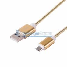 USB кабель microUSB, шнур в металлической оплетке, золотой