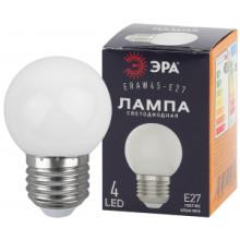 ERAW45-E27 ЭРА LED Р45-1W-E27 ЭРА (диод. шар, бел., 4SMD, 1W, E27, для белт-лайт) (10/100/6000)