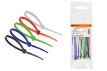 Хомуты 3,6х200 цветные набор  5 цветов (черный, белый, красный, синий, зеленый) (25 штук) TDM