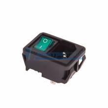 Выключатель клавишный 250V 10А (4с) ON-OFF зеленый с подсветкой и штекером C14 3PIN  REXANT